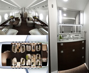 Компания DesignworksUSA представила дизайн салона Falcon 2000S