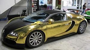 Золотой Bugatti Veyron принял участие в чемпионате Gumball Rally